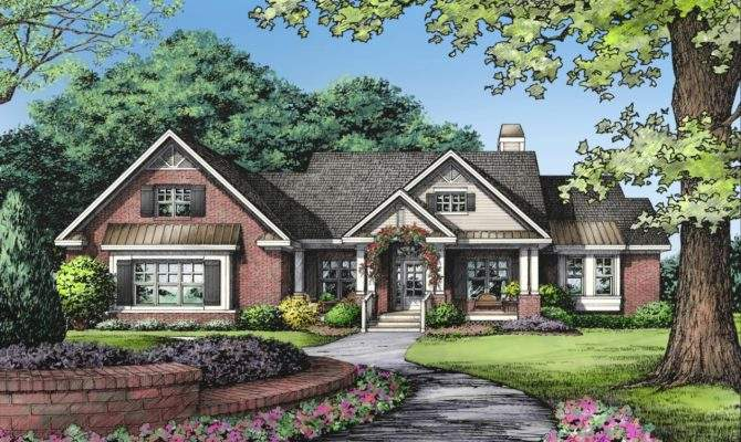 One Story Brick Ranch House Plans Style