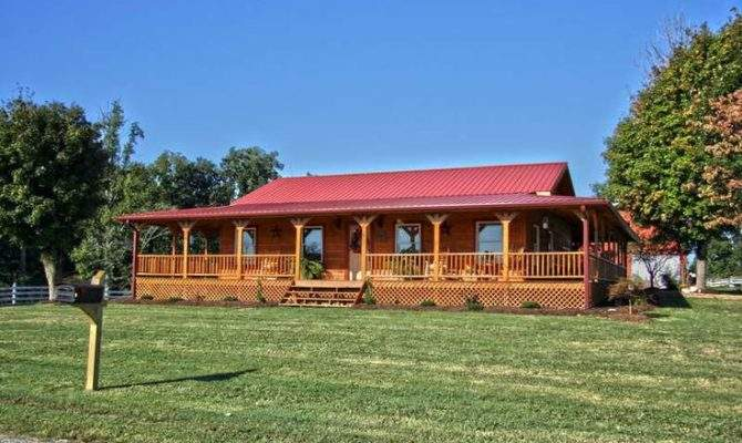 One Story Country House Plans Wrap Around Porch Red Roof