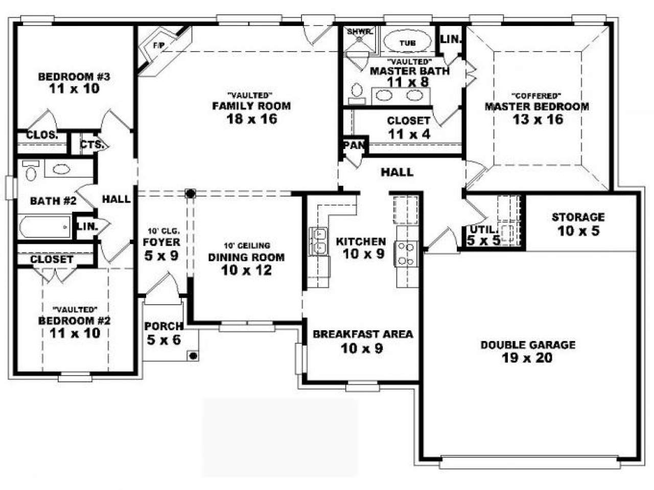 One Story House Plans Bedrooms