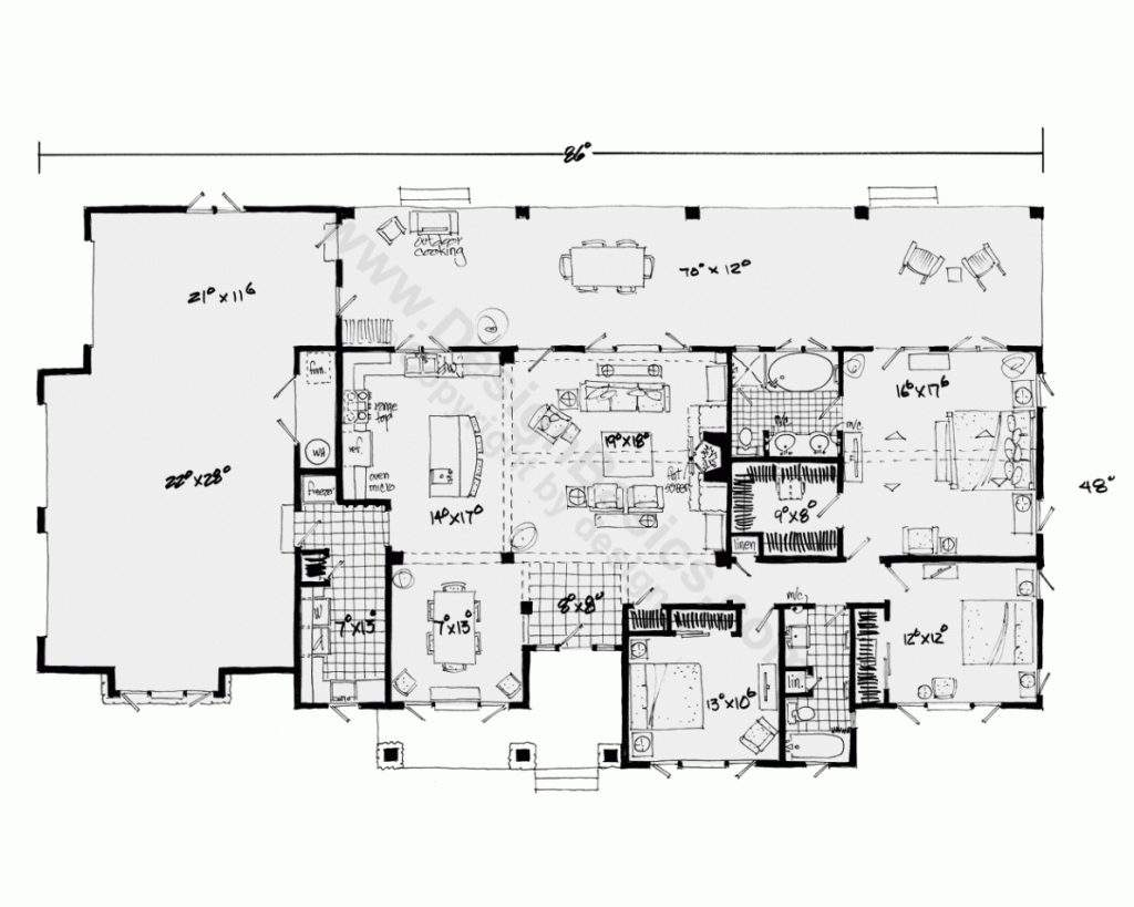 One Story House Plans Open Floor Design
