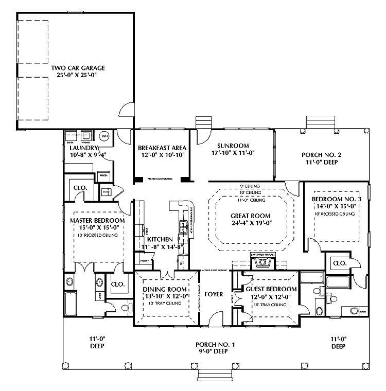 One Story House Plans Two Master Suites
