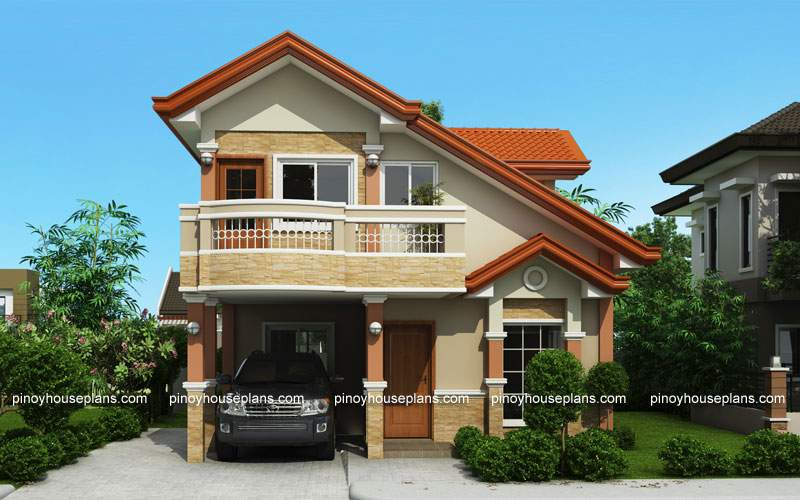 Php Two Storey House Plan Balcony Pinoy