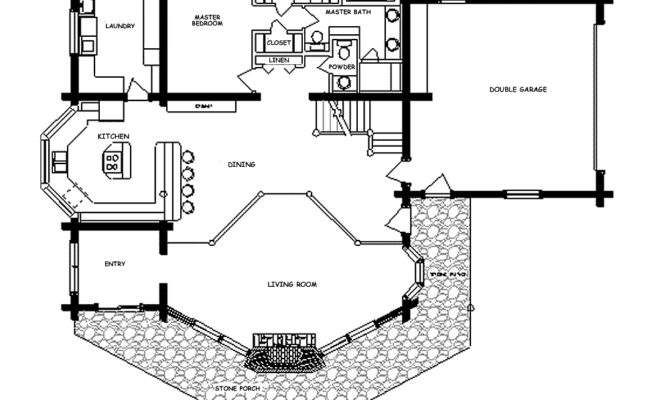 Ponderosa Log Home Floor Plan Main