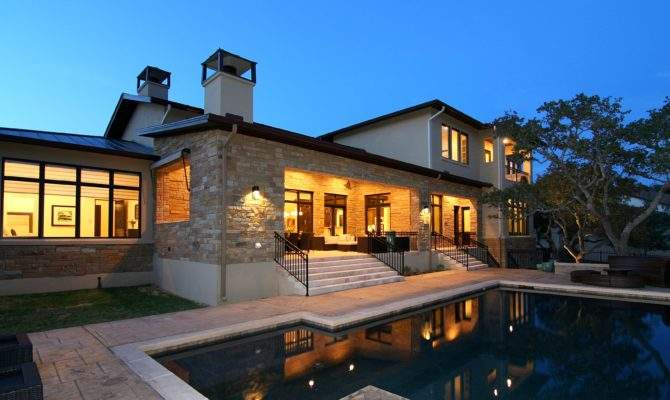 Pool Hill Country Modern Zbranek Holt Custom Homes Austin Luxury