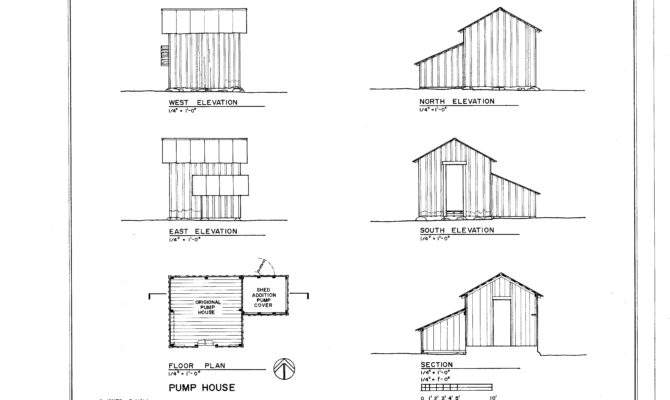 Pump House Elevations Floor Plan Section