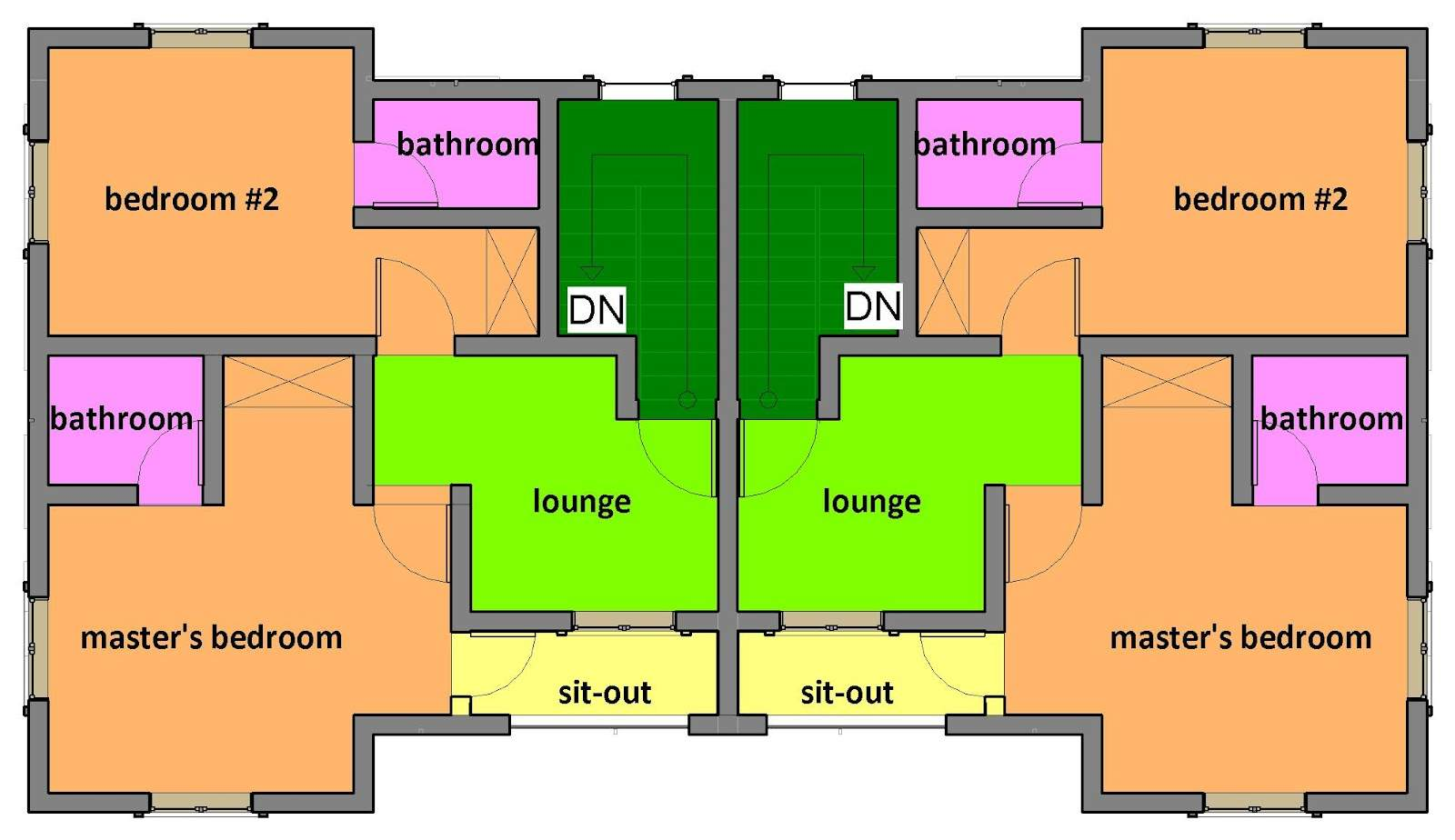 Residential Building Designs Two Bedroom Semi Detached One Storey