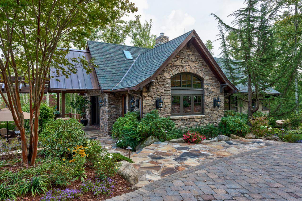 Rustic Guest House Stone Exterior Walkway Nestled Next