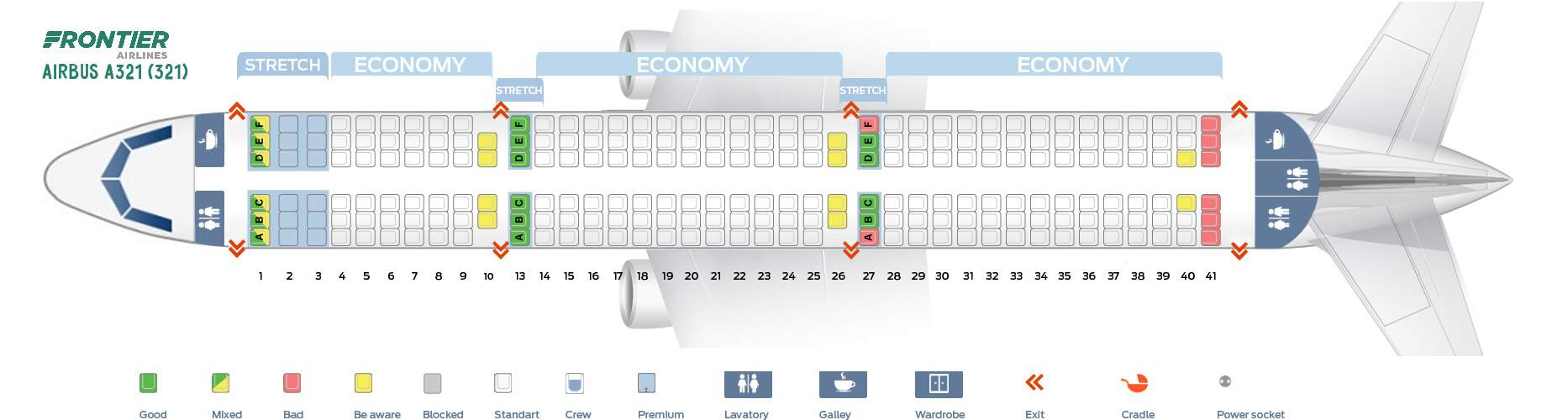 Seat Map Airbus Frontier Airlines Best Seats