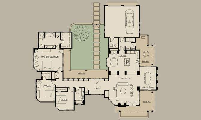 Shaped House Plans Courtyard Home Architectural Design
