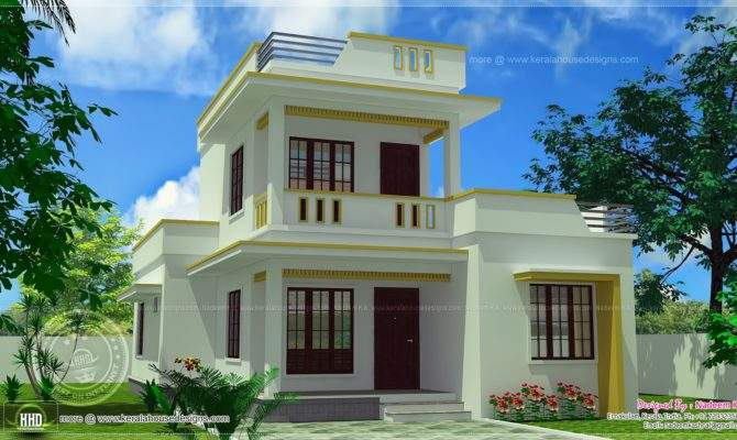 Simple Flt Roof Home Design Feet Kerala Plans