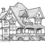 Simple Victorian House Drawing Tutorial Style
