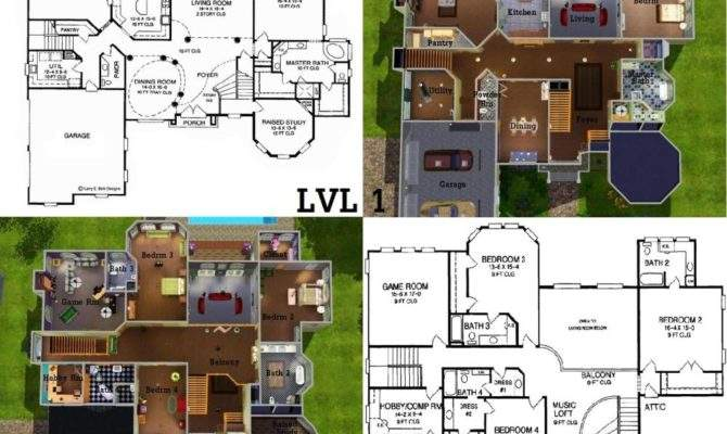 Sims Mansion Floor Plan Houses Additionally House Plans