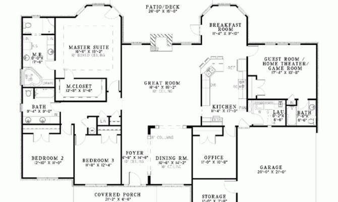 Single Story Bedroom House Plans One Bungalow Home