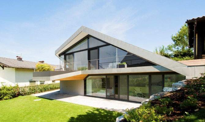 Slope Roof House Futuristic Interiors