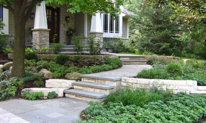 Sloping Front Yard Home Design Ideas Remodel