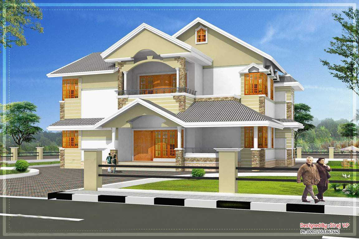 Sloping Roof Kerala Villa Elevation
