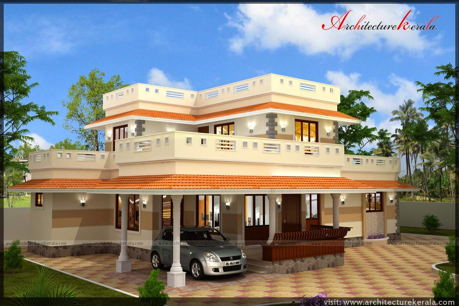 Square Feet House Plan Its Beautiful Elevation
