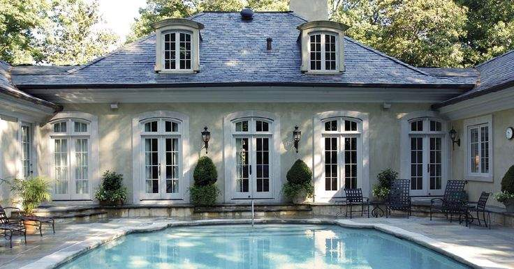 Stucco French Pavilion Style Country Pool Light