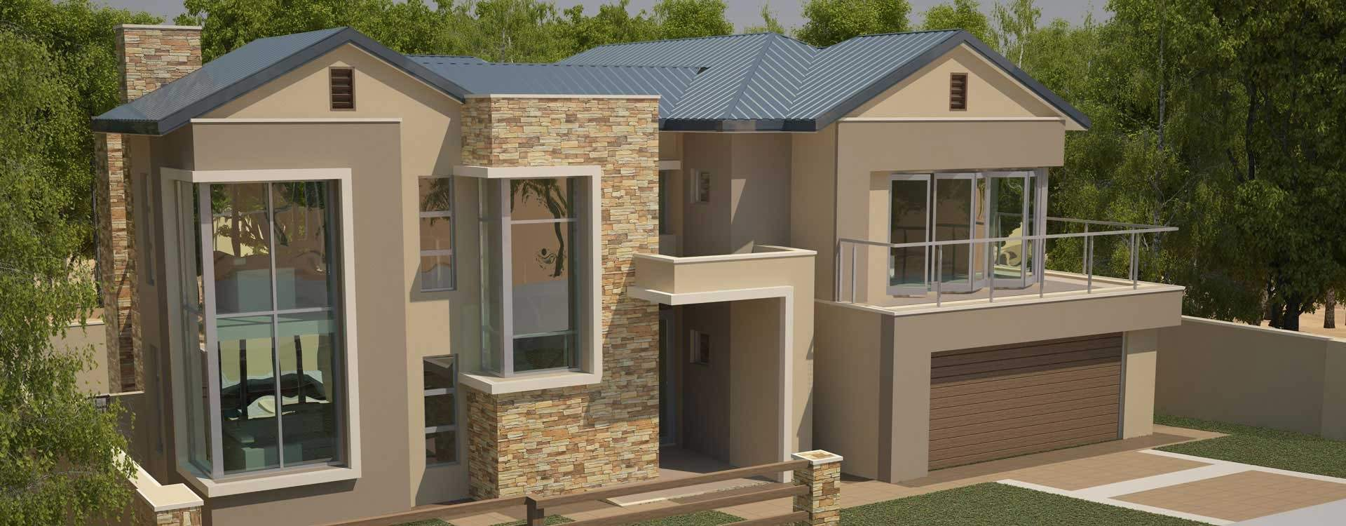 Style House Plans Bedroom Double Storey Floor Modern