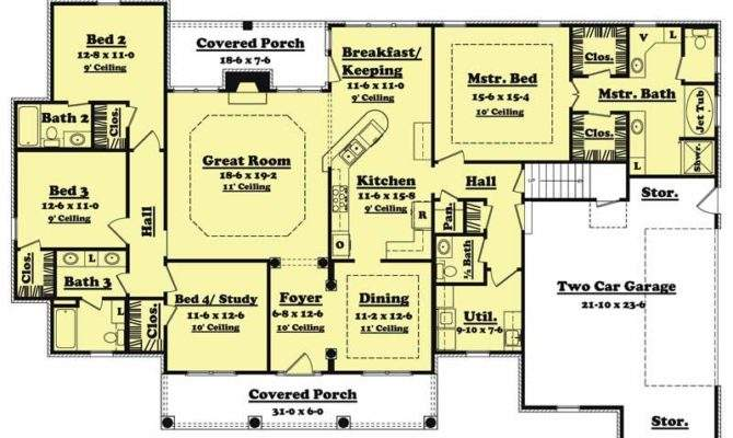 Traditional Country Home Floor Plan Four Bedrooms