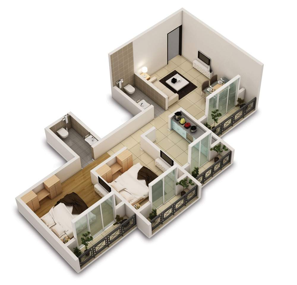 Two Bedroom House Apartment Floor Plans - HG Styler