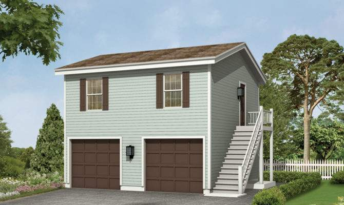 Two Car Garge Apartment Has Simple Style Side Exterior Entrance