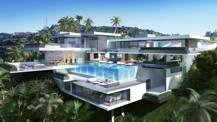 Two Modern Mansions Sunset Plaza Drive