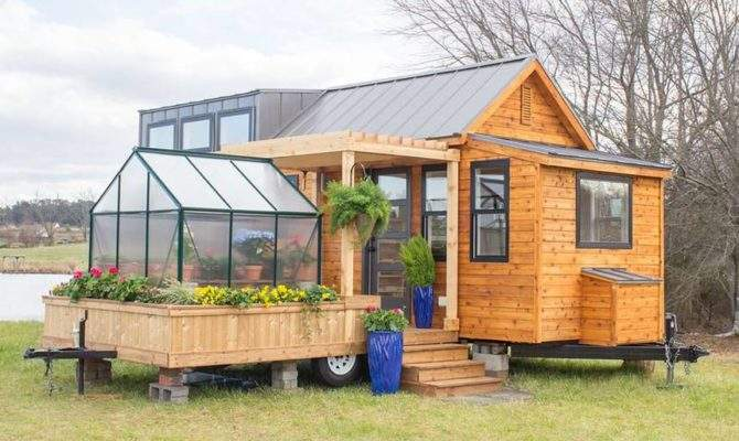 Two Part Tiny House Comes Its Own Mobile Porch