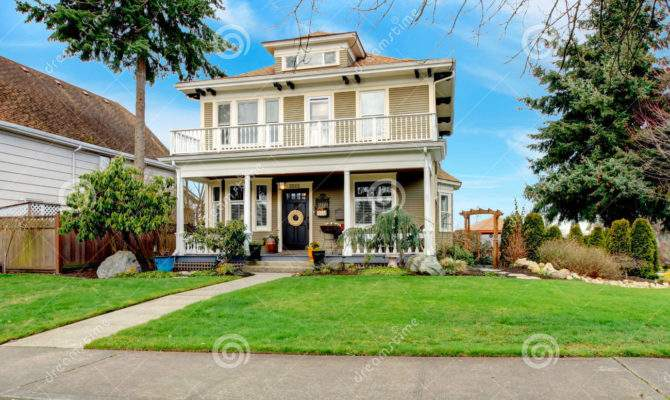 Two Story American House White Column Porch