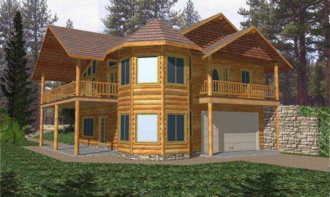 Two Story Log Cabin Home Plans