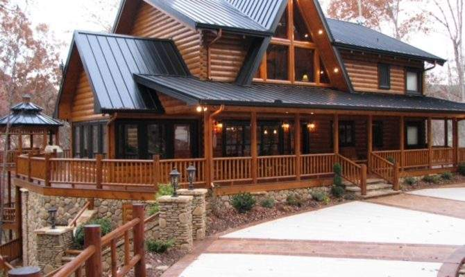Two Story Log Cabin Homes Wrap Around