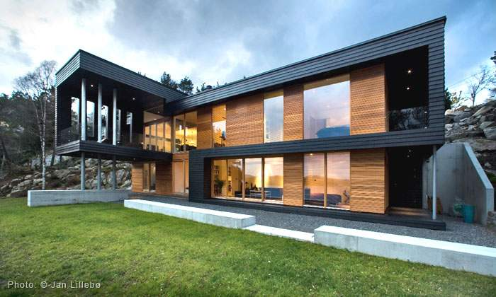 Twofold House Black Stained Wood Natural Between