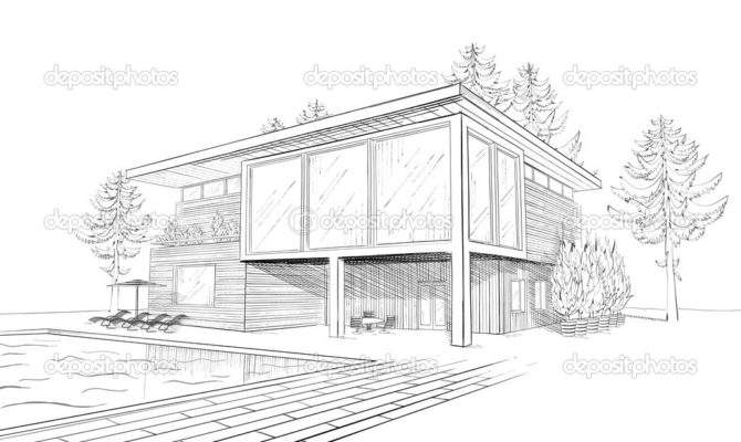 Vector Sketch Modern House Swimming Pool
