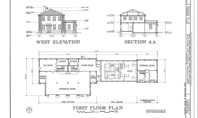 West Elevation Section First Floor Plan Macdill Air Force