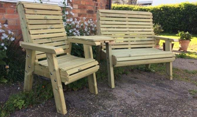 Wooden Trio Set Connecting Chair Bench Jack Jill Seat